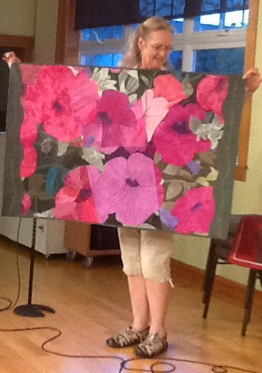 Jo B Petunias, made by 6 quilters