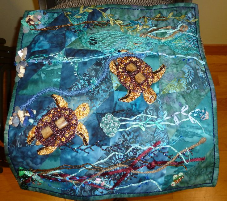 Sea Turtles-Ribbon & Bead Embellished