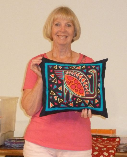 Linda St. Machine Embroidered Mola Pillow