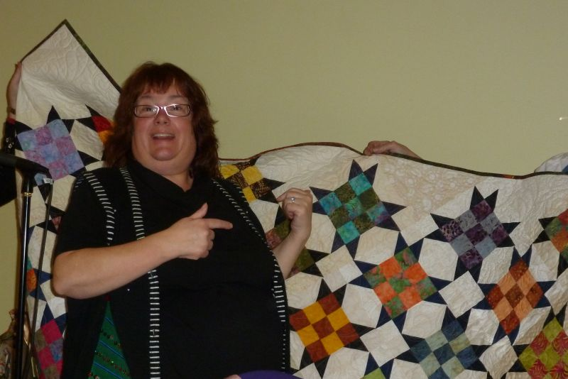 Sharon Thrilled with her President's Quilt