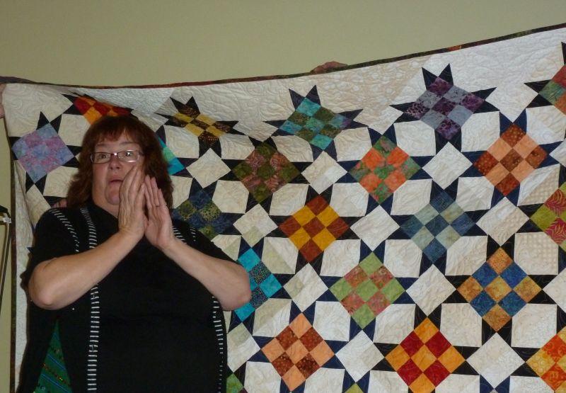 Sharon Receives her President's Quilt