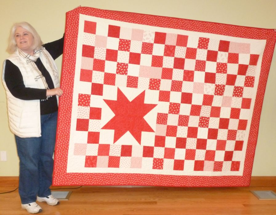 Trish L. Red & White Star Christmas Quilt