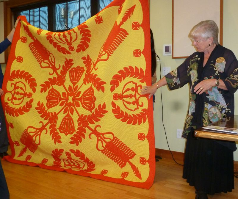 Nancy Lee Chong with Janice's quilt