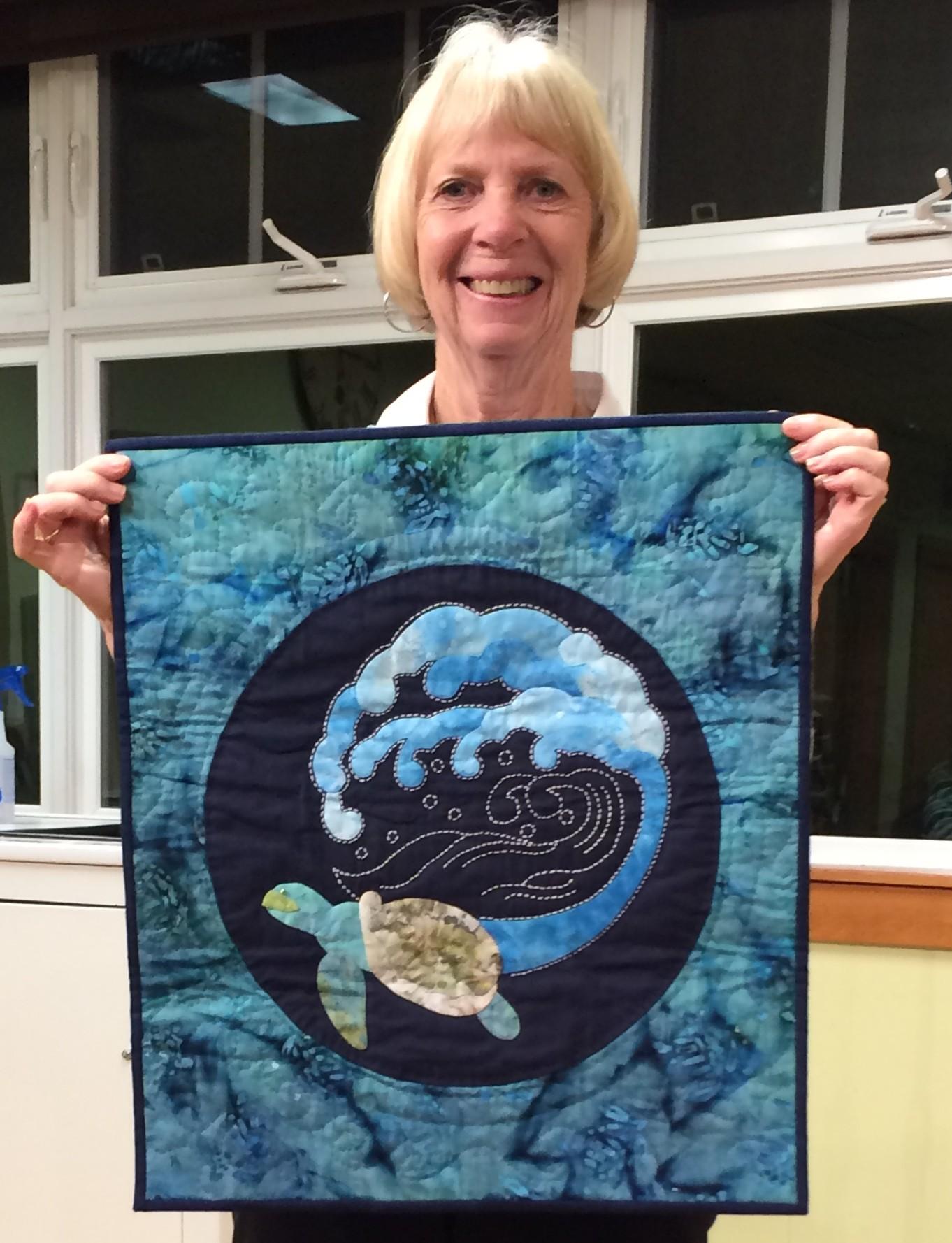"Linda St A - ""Maui Friend"" a UFO hand applique, sashiko, hand quilted"