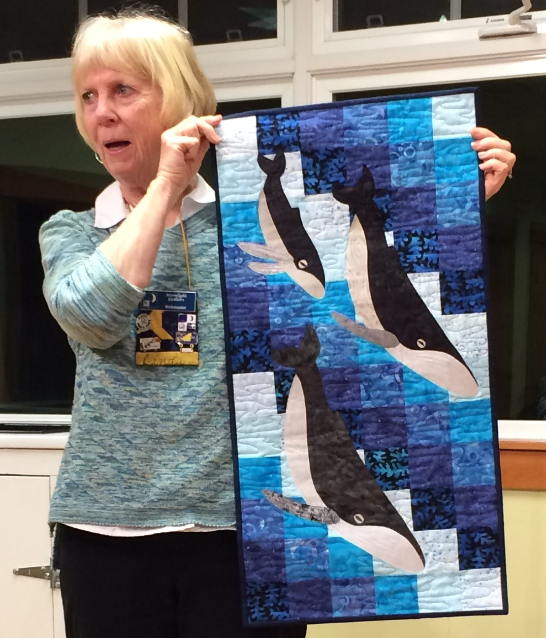 "Linda St A. - ""Family Dive"" a friendship quilt pieced on retreat"
