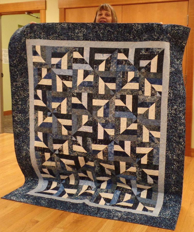 """Suzanne T. - """"Blue Batiks Strip Quilt"""""""