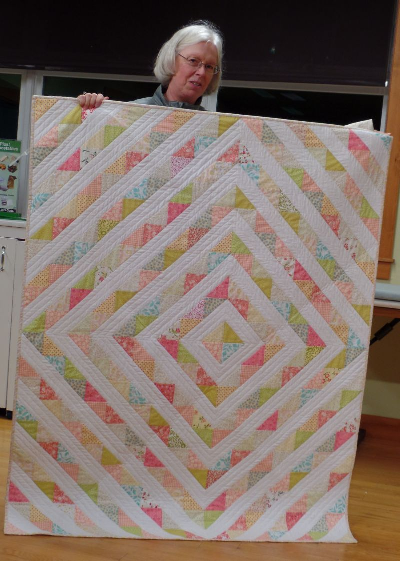 Linda F. made this quilt using her granddaughter's crib sheets