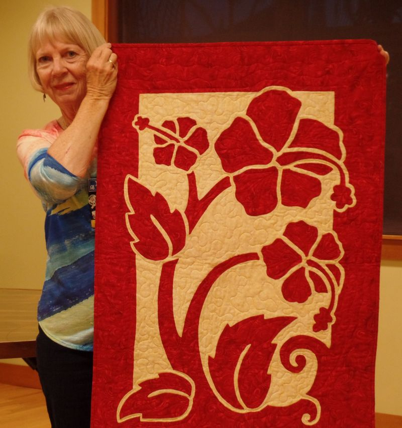 Linda St. A. - Wall quilt for her dear friend using needle turn applique & Nancy Lee Chong pattern