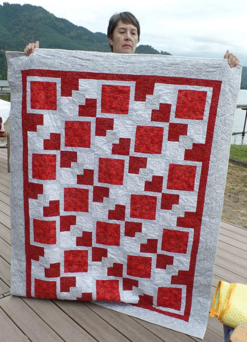Jean's Crimson & Grey Christmas Quilt