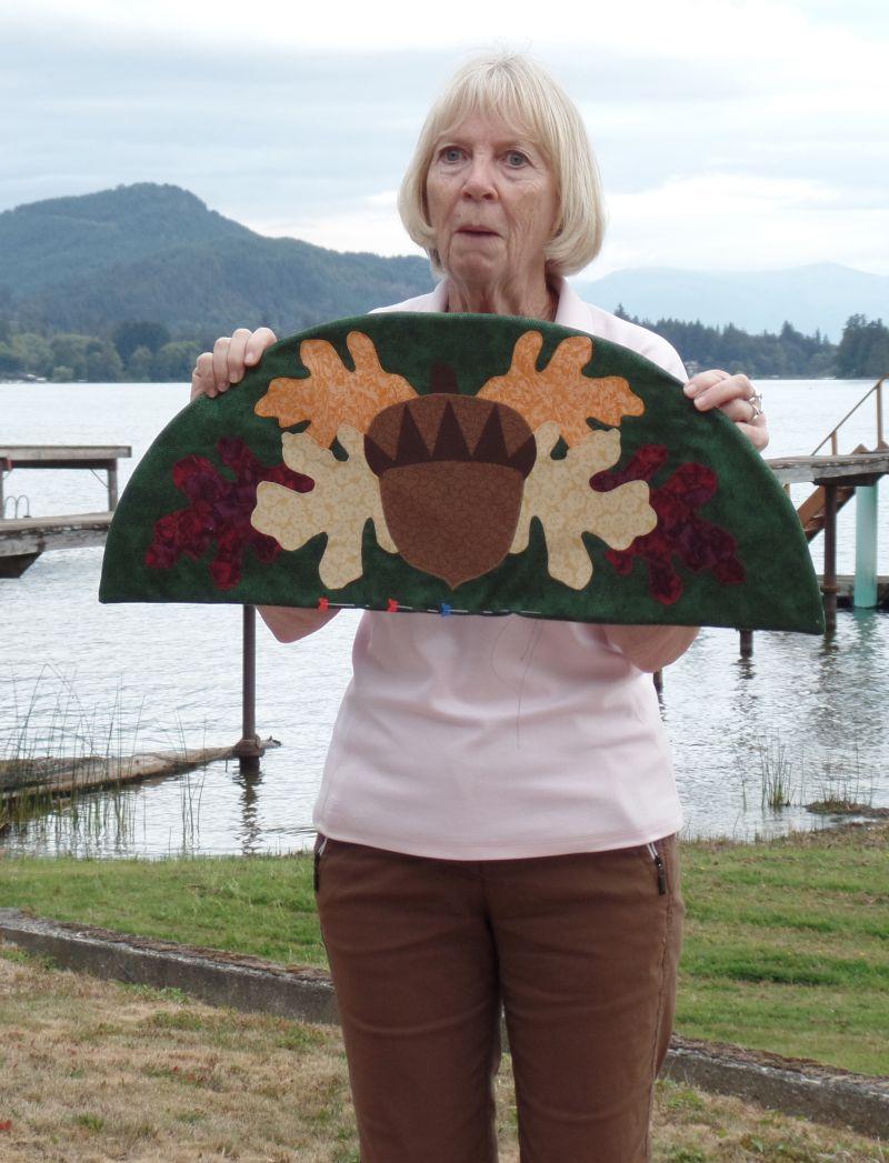 Linda with Autumn door topper for her mom