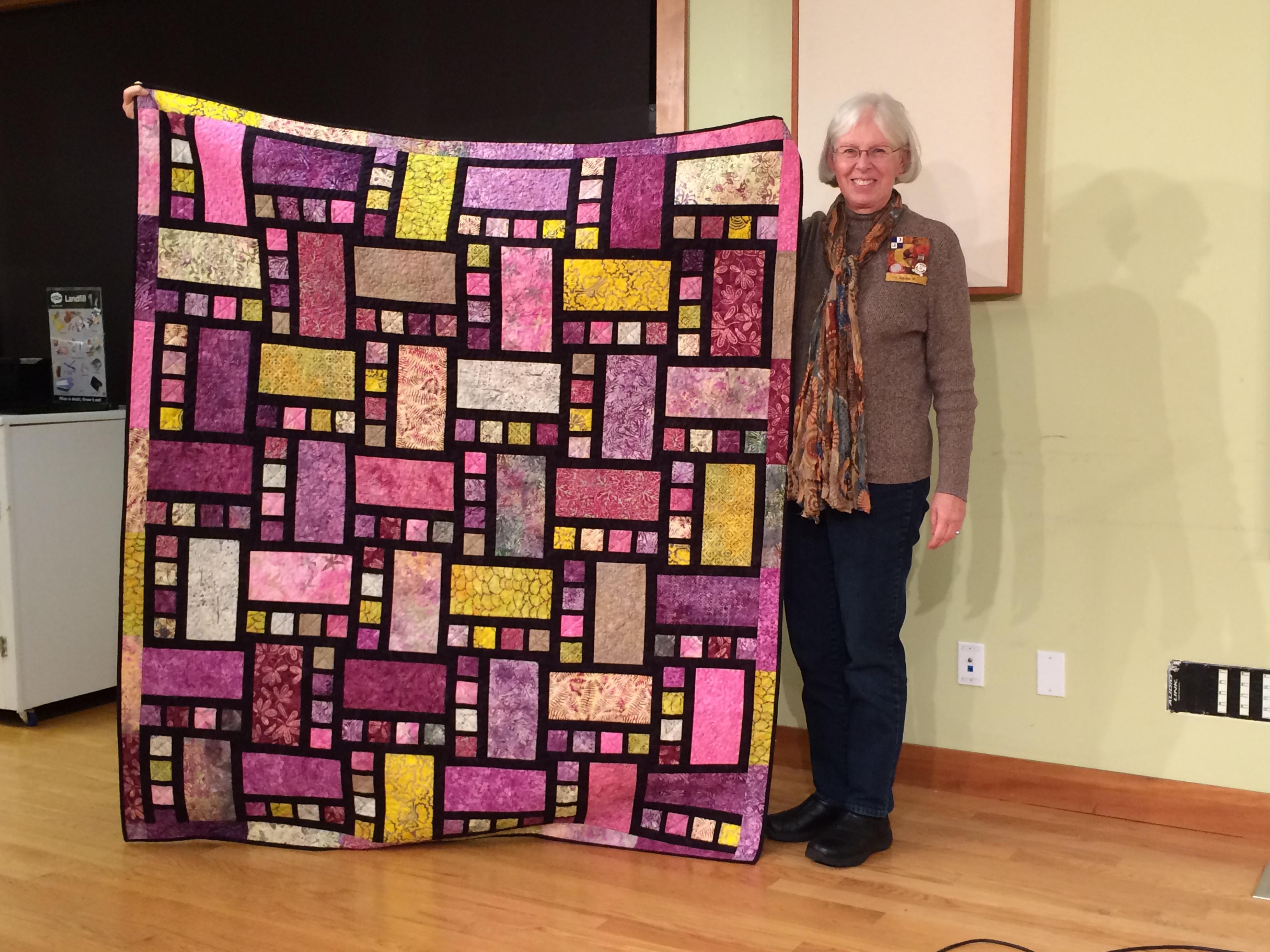 """Linda F. - """"Batik Blocks"""" made from a package of batiks won at Rosemary Heights."""